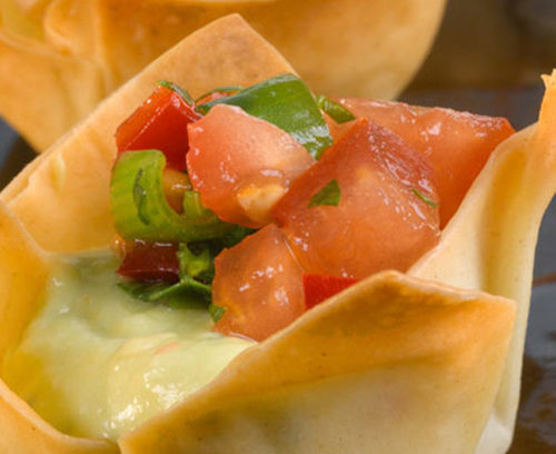 Guacamole and Salsa Tiny Filo Tartlets
