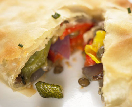 Lentil and Roasted Vegetable Filo Triangles