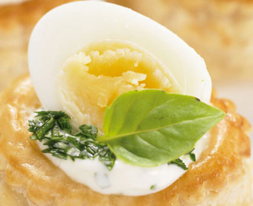 Quail Egg and Basil Mayonnaise Vol-au-Vents