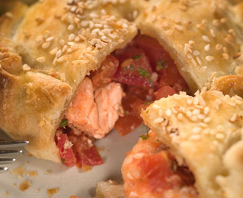 Salmon, Prawn and Tomato Pies