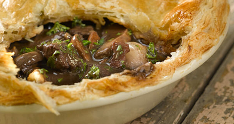 Beef, Wild Mushroom and Red Wine Pie