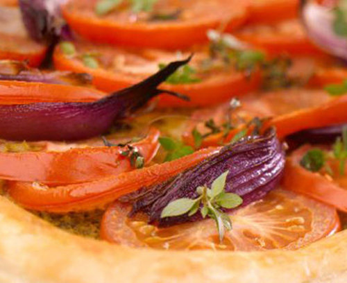 Tomato, Red Onion and Thyme Puff Slice